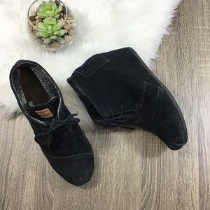 TOMS   Black Suede Leather Hidden Wedge Booties